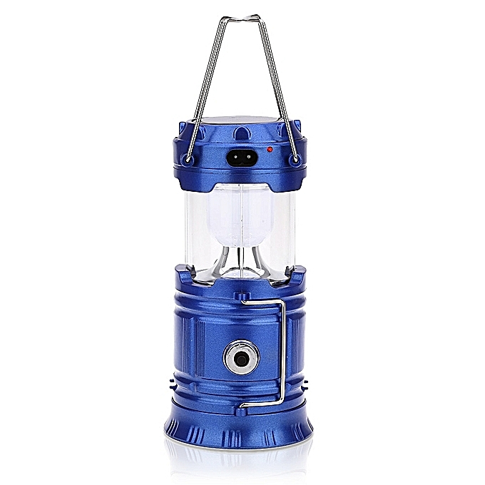 Solar Bright LED Outdoor Recharge Camping Tent Light Lantern Hiking Fishing Lamp (Blue)