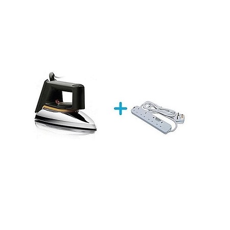 Philips HD1172 No.2 -Dry Iron Box - Silver + A FREE 4-Way Socket Extension Cable