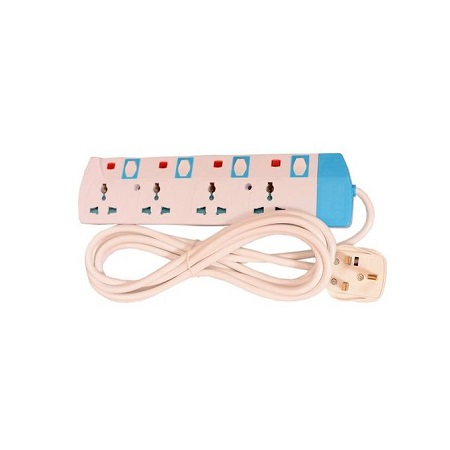 Power King Heavy Duty 4 Ways Extension Multi Socket With 3 Metre Cable