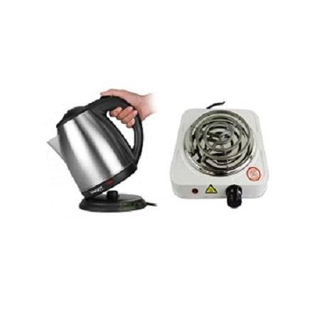 Electric Kettle (Cordless) 2Litres + A FREE Single Spiral Hotplate Silver