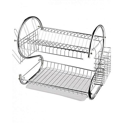 Rashnik 2 Tier Dish Rack Stainless Steel, With Drain Board