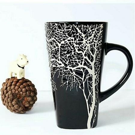 6pcs Ceramic Tree mug black