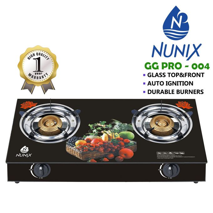 Nunix Tampered Glass Table Top Double Burner Gas Stove / Cooker