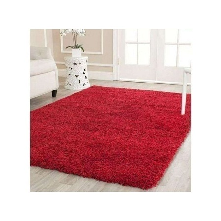 Fluffy Smooth Carpet For Living Room- Red