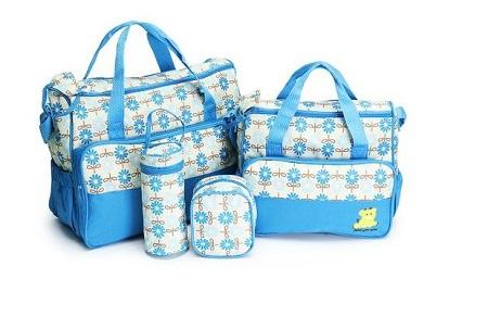 5 In 1 Baby Diaper Bag-Travel Mummy Bag-Light Blue.