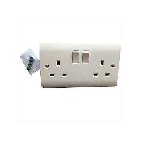 Lyons Wall Socket Double Socket Box 250V 13A -White-5pcs