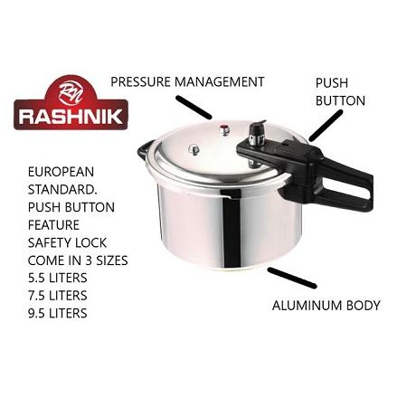 Rashnik Aluminium Pressure Cooker- 5.5 / 7.5 / 9.5 LItres