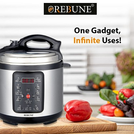 Rebune Electric Pressure Cooker 6Litres With Timer