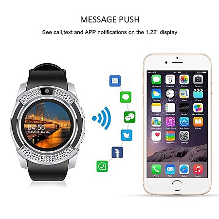 V8 Smart Watch Bluetooth With CamTouch Screen Pedometer Sedentary Reminder Sleep Monitor Instant Notifications Anti-Lost Smartwatch (Silver black)