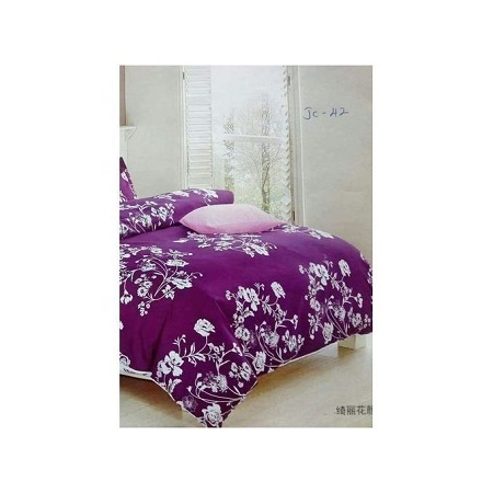 4 Piece Duvet Set - Purple & White