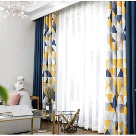 Curtain and sheer- multicolor