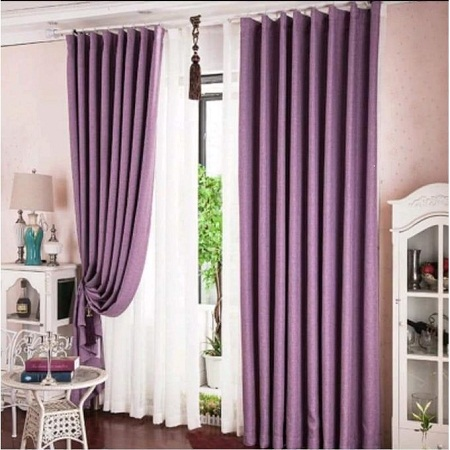 Purple Curtain and Offwhite sheer