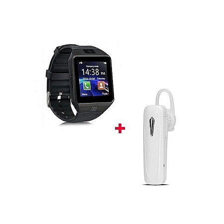 DZ09 Smart Watch With Free Bluetooth headset White - Black