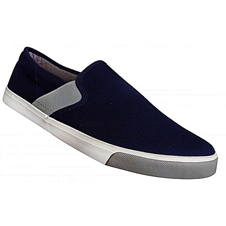 Generic Black Slip-On Sneakers With Canvas and Rubber Sole
