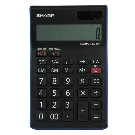 Sharp EL-144T - 14 Digit Calculator - Black/ Blue