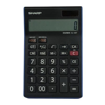Sharp EL-145T - 14 Digit Calculator - Black/ Blue