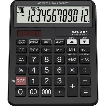 Sharp EL-CC12G - 12 Digit Calculator - Black