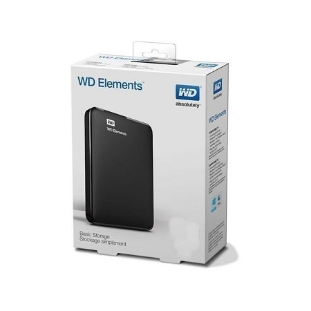 (Western Digital) 500GB External Hard Disk Drive with Cable - Black