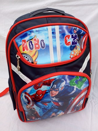 Unisex Navy and Red school bag with super heroes characters