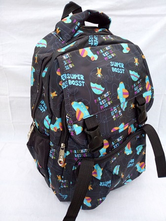 Black School bag with blue and orange details