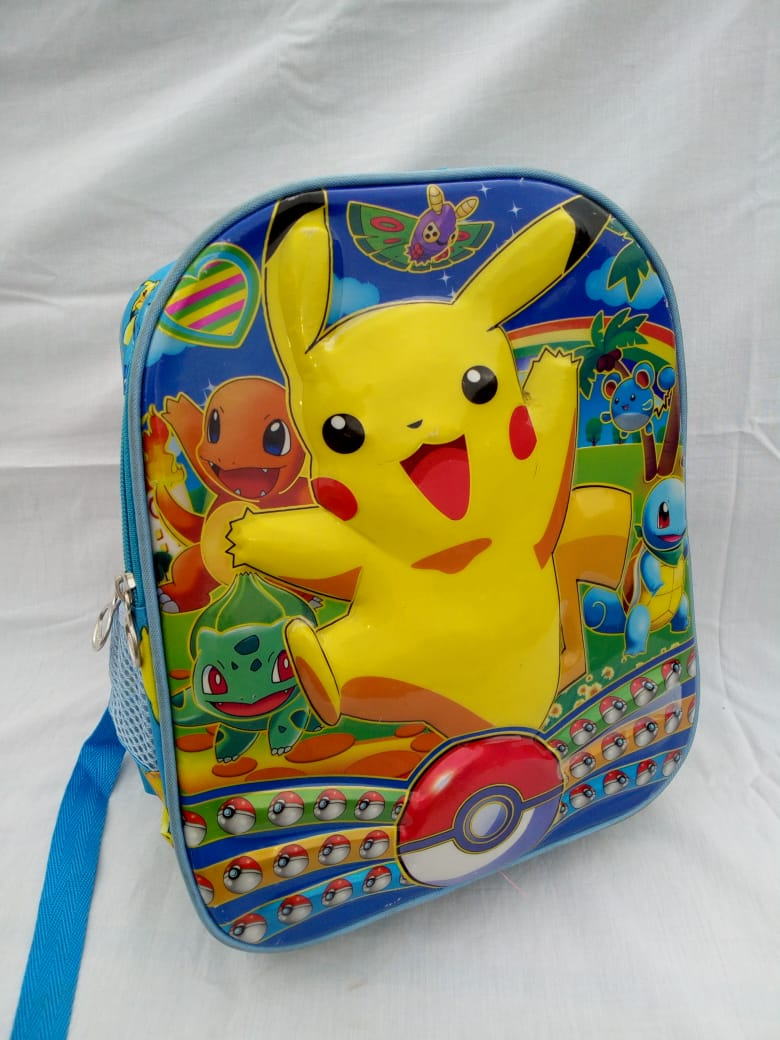 Unisex Blue School Bag with yellow and red cartoons