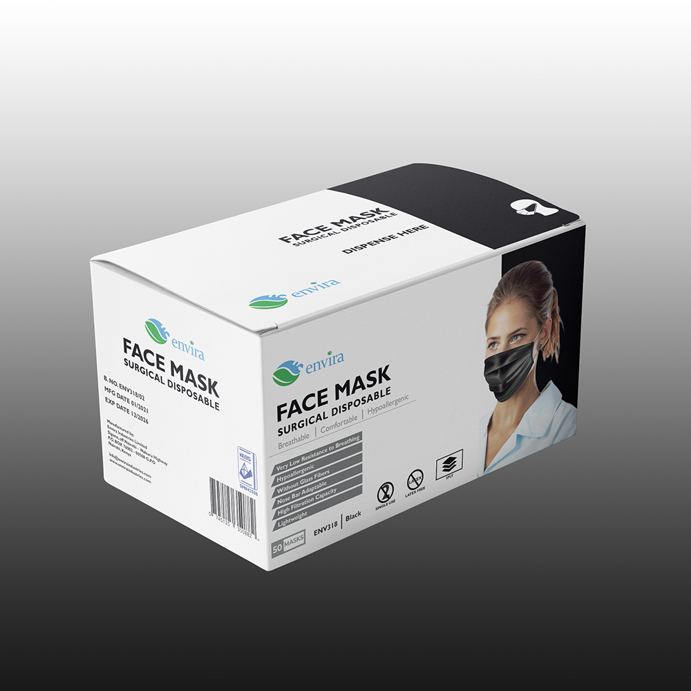 3PLY Black Surgical Face Masks