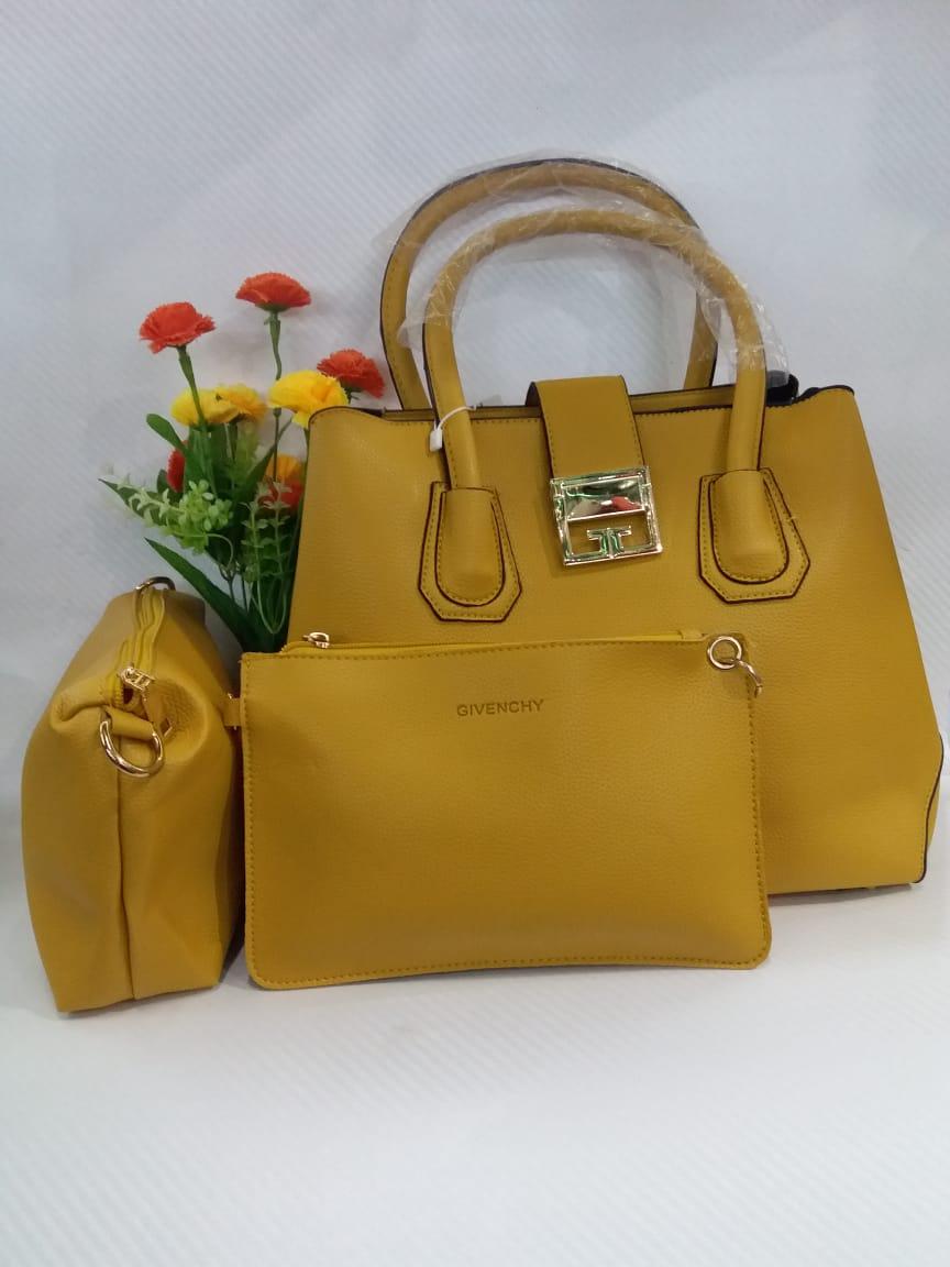Mustard 3 piece handbag set