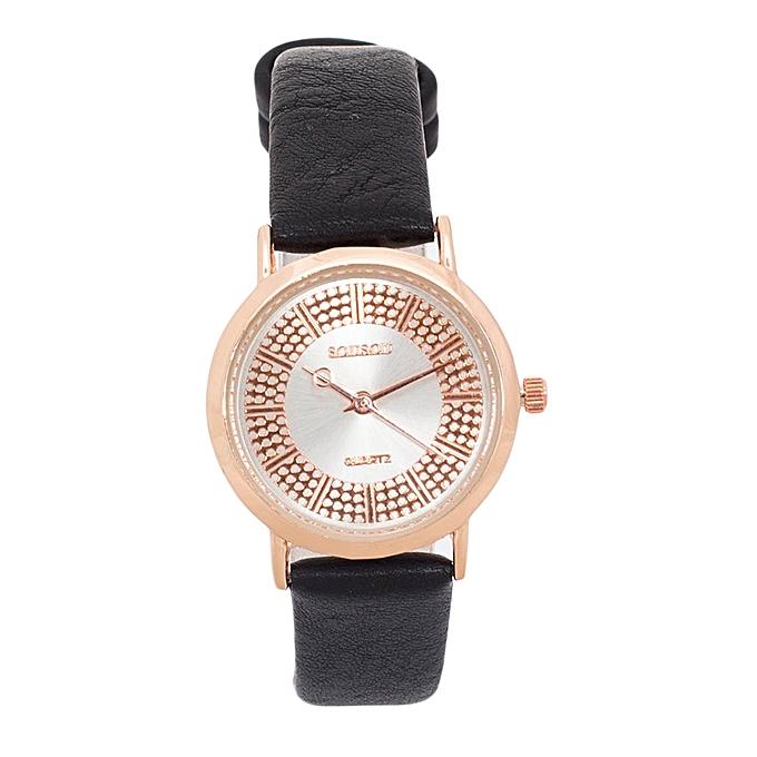 Generic Black PU Leather Strap Women's Watch.