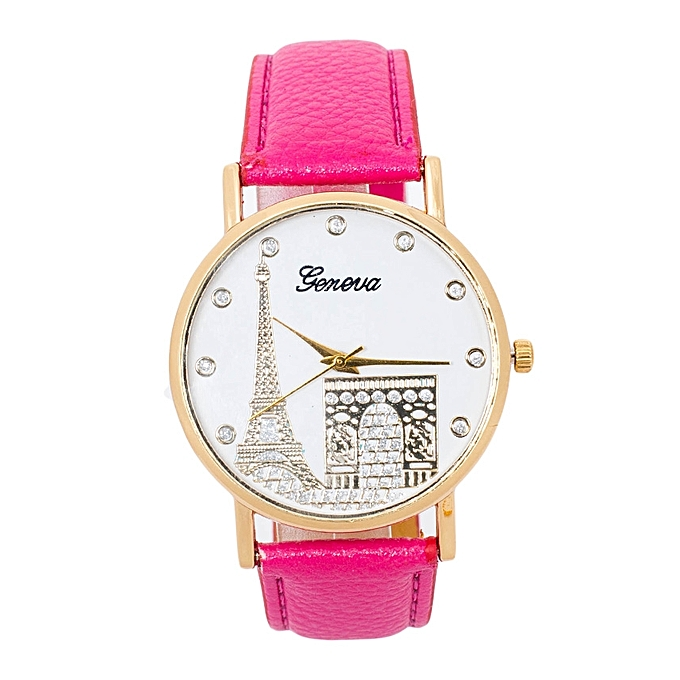 TIFFY COLLECTION Virtual Pink PU Leather Strap Women's Geneva Watch
