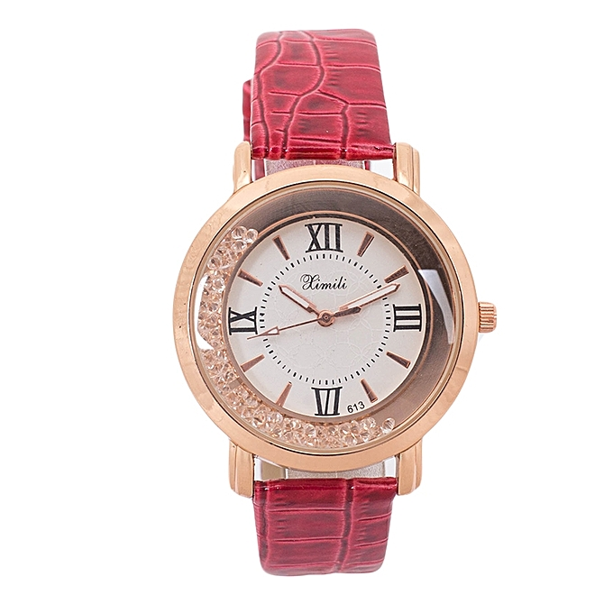 Generic Maroon Red Shiny PU Leather Strap Watch..