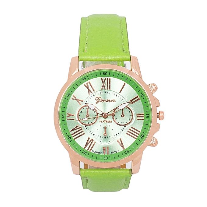 Generic Green PU Leather Strap Women's Geneva Watch.