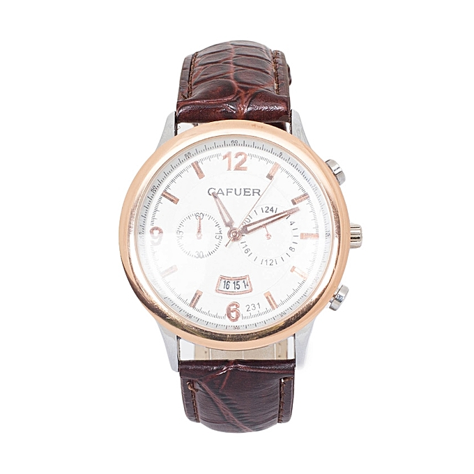 TIFFY COLLECTION Brown Pu Leather Strap Cafuer Mens Watch With Date