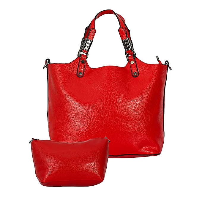 TIFFY COLLECTION Red 2-in-1 PU Leather Handbag.
