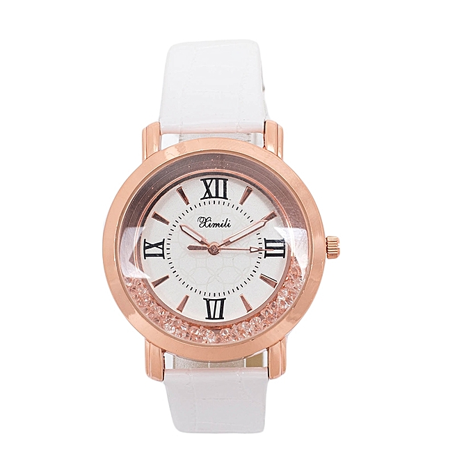 Generic White Shiny PU Leather Strap Watch