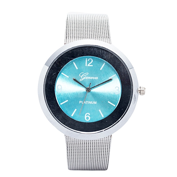 Generic Silver Unisex Stainless Steel Strap Watch With Aqua Blue Face.