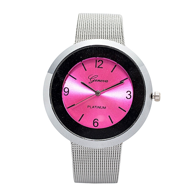 Generic Silver Unisex Stainless Steel Strap Watch With Pink Face.