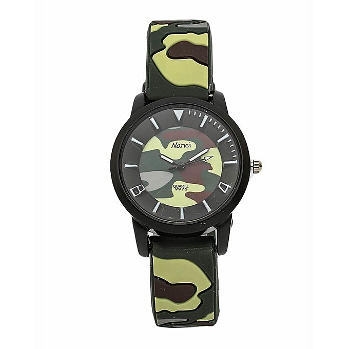 Nanci Combat Luminous Green Small Size Rubber Strap Watch
