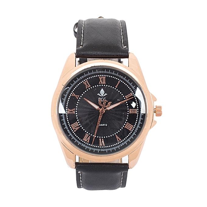Generic Black PU Leather Strap Bgg Men's Watch.