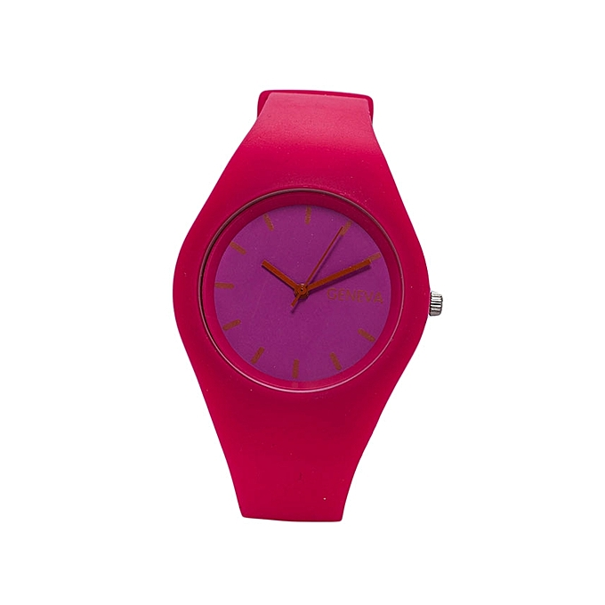 Generic Pink Rubber Strap Unisex Watch..