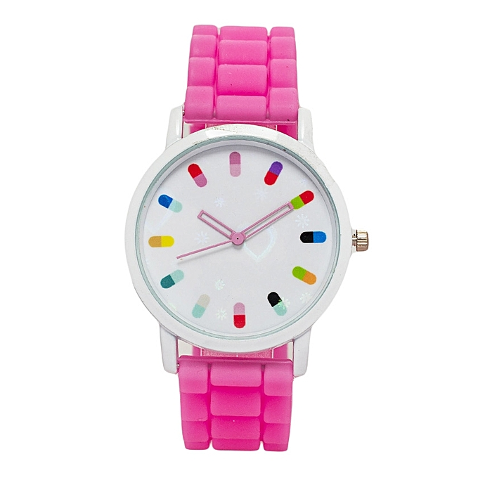 Generic Virtual Pink Rubber Strap Ladies Watch..