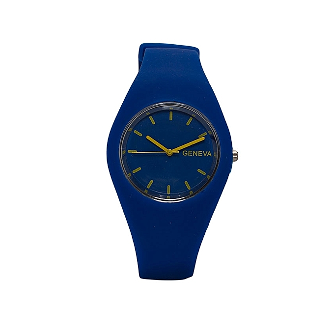 GENEVA Royal Blue Rubber Strap Unisex Watch..