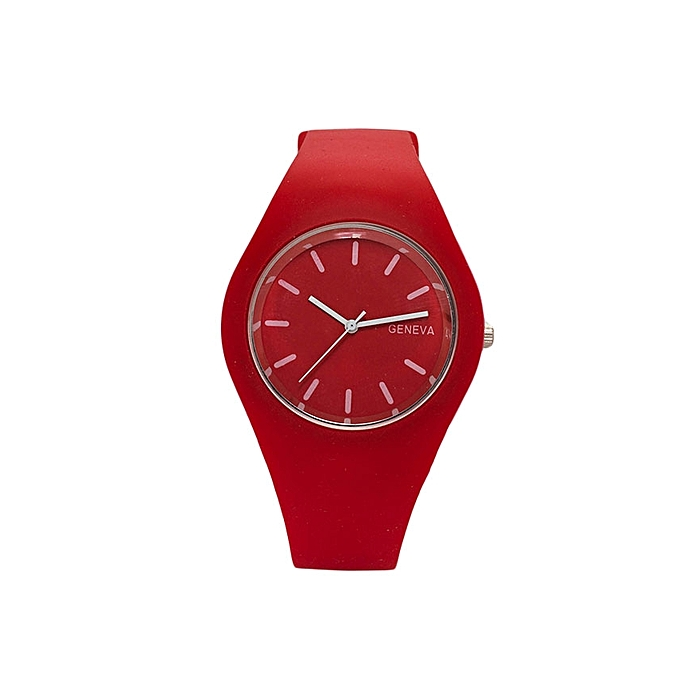 Generic La Rosa Red Rubber Strap Unisex Watch.