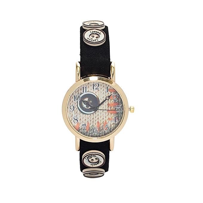 Black Cream & Brown Buttoned Watch.