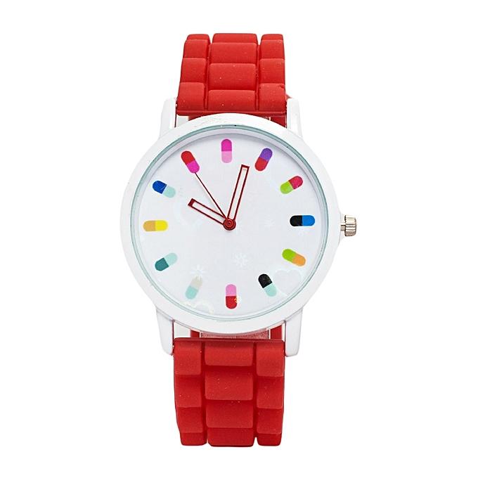 Poppy Red Rubber Strap Ladies Watch.