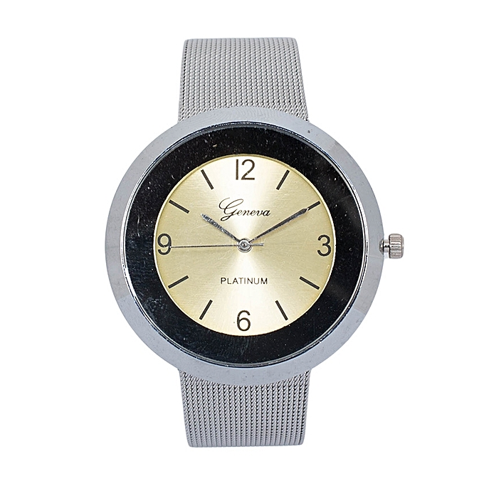 Generic Silver/Yellow Stainless Steel Unisex Geneva Watch.