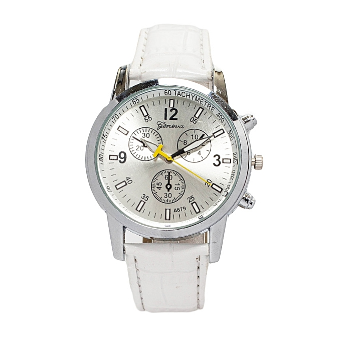 A679 White Shinny Unisex PU Leather Strap Watch.