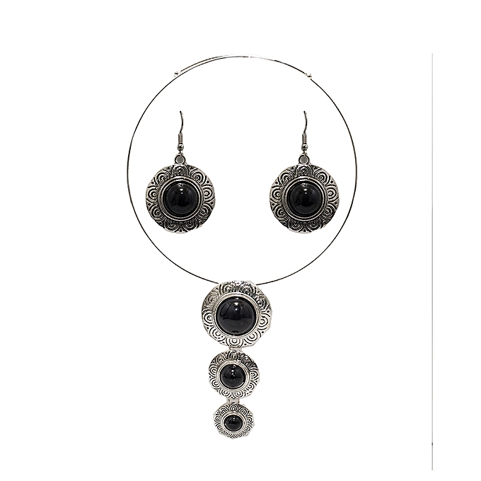 TIFFY COLLECTION Black Stainless Steel Choker & Earrings Set