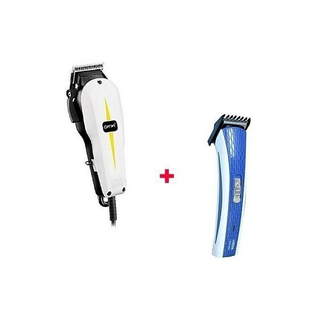 Gemei GM-1021 With Free Nova Rechargeable Hair Trimmer Professional Electric Hair Clipper - White & Black
