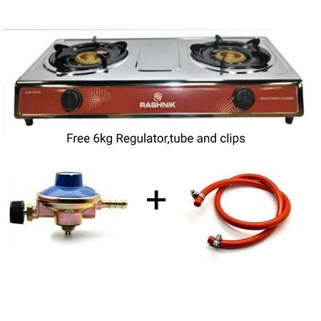 Rashnik 2 Burner Cook Top- Free 6kg Regulator, Pipe & Clips