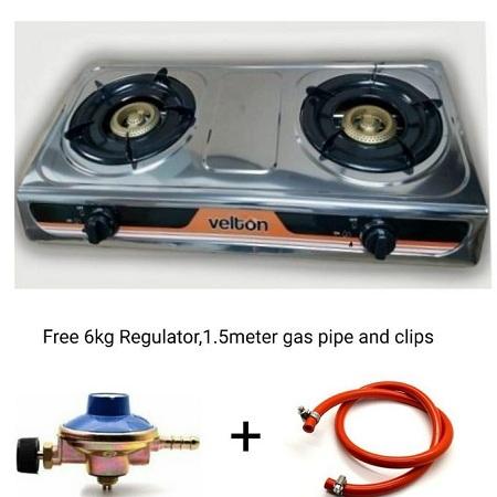 VELTON 2 Burner Gas Gas Cooker+FREE 6KG Regulator,1.5m Pipe&clips
